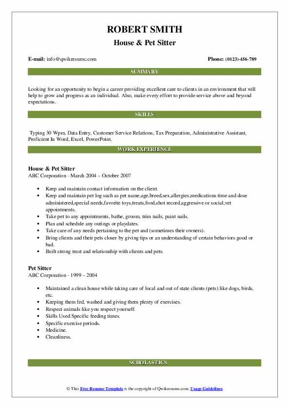 House & Pet Sitter Resume Template