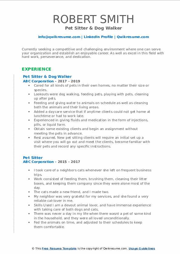 Pet Sitter & Dog Walker Resume Format
