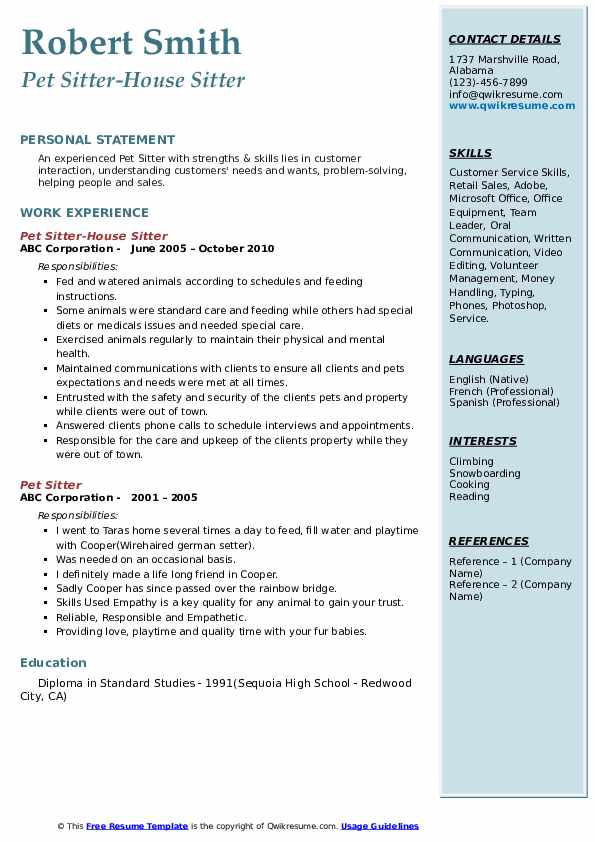 Pet Sitter-House Sitter Resume Template