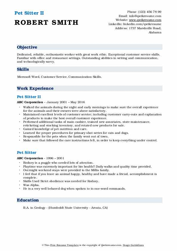 Pet Sitter II Resume Template