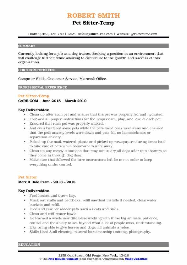 Pet Sitter-Temp Resume Example