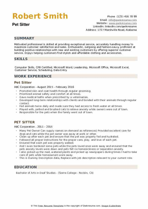 Pet Sitter Resume example