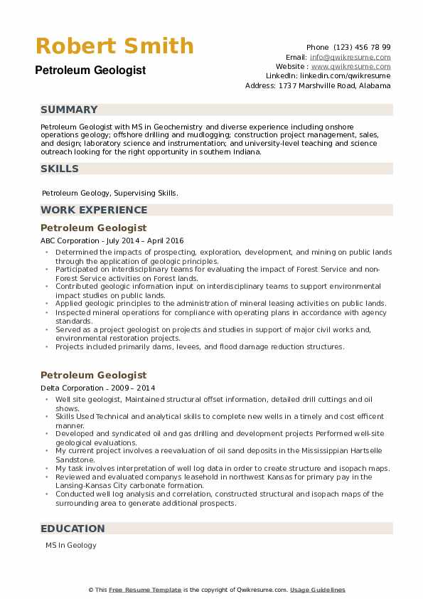 Petroleum Geologist Resume example