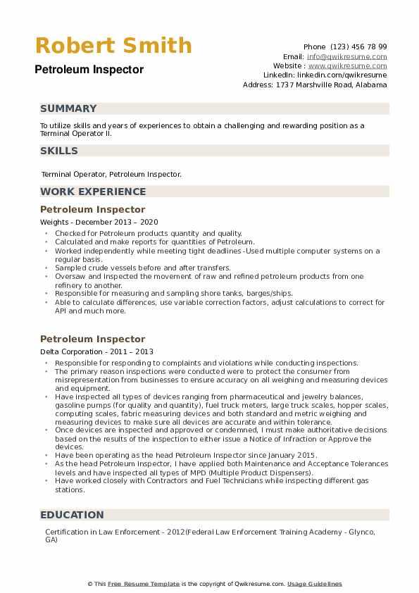 Petroleum Inspector Resume example