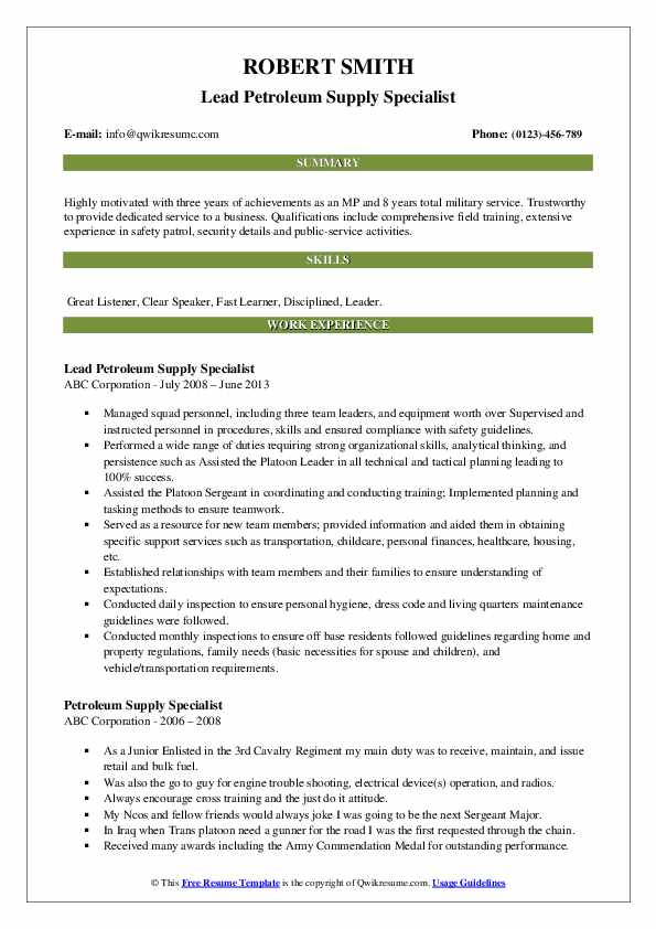 Lead Petroleum Supply Specialist Resume Template
