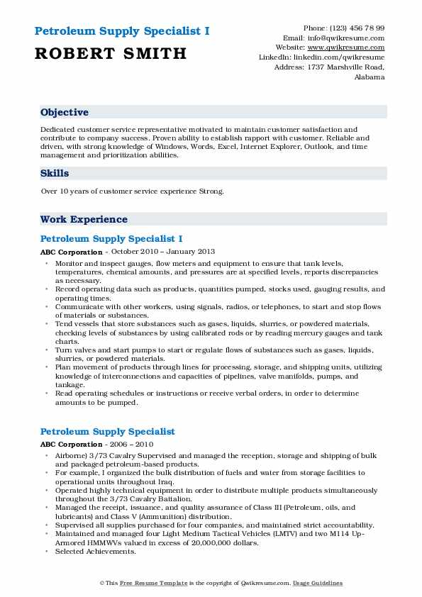 Petroleum Supply Specialist I Resume Format