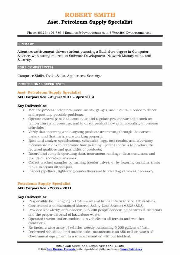 Asst. Petroleum Supply Specialist Resume Example