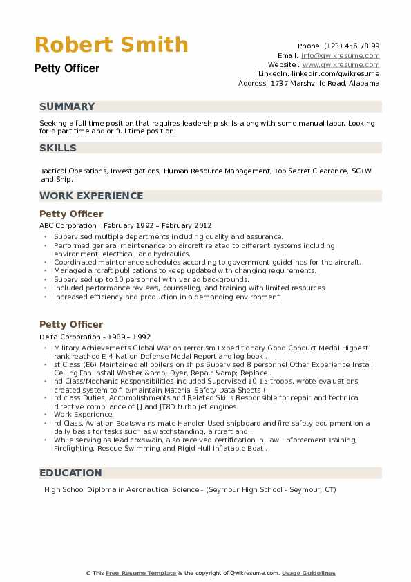 Petty Officer Resume Samples Qwikresume