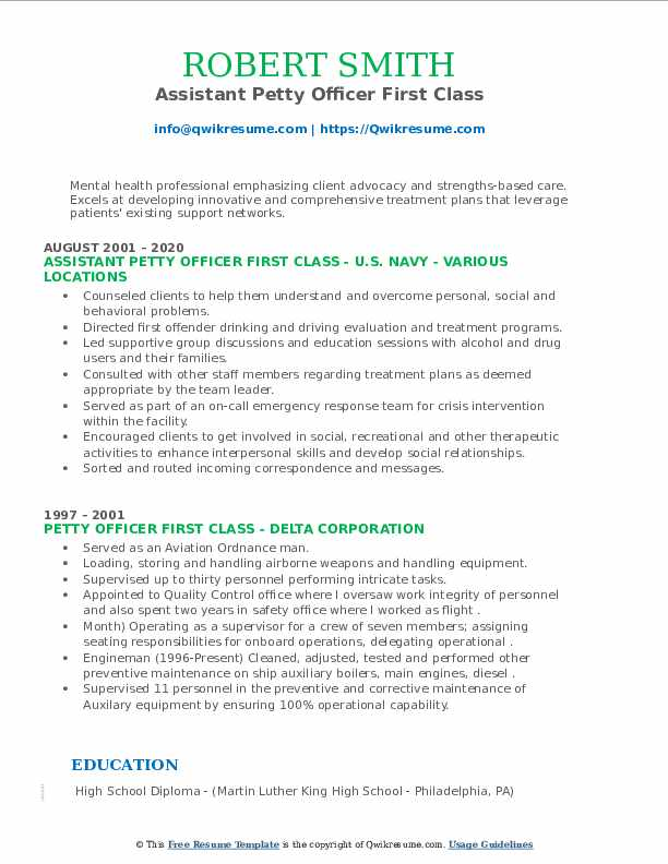 Petty Officer First Class Resume Samples