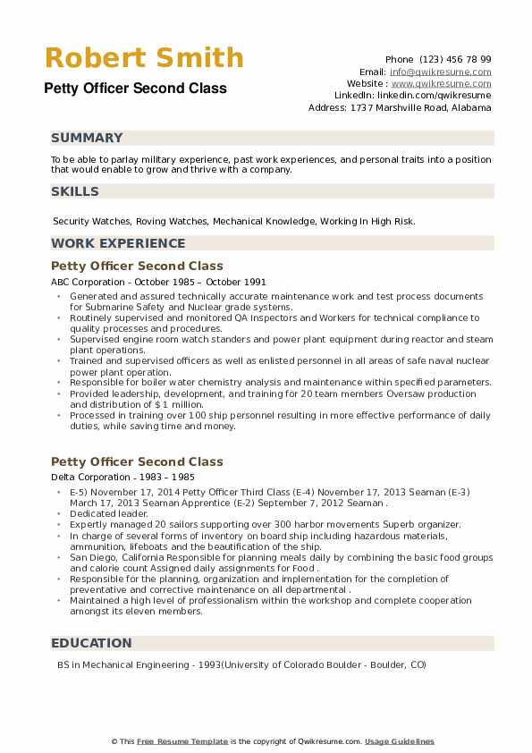 Petty Officer Second Class Resume example