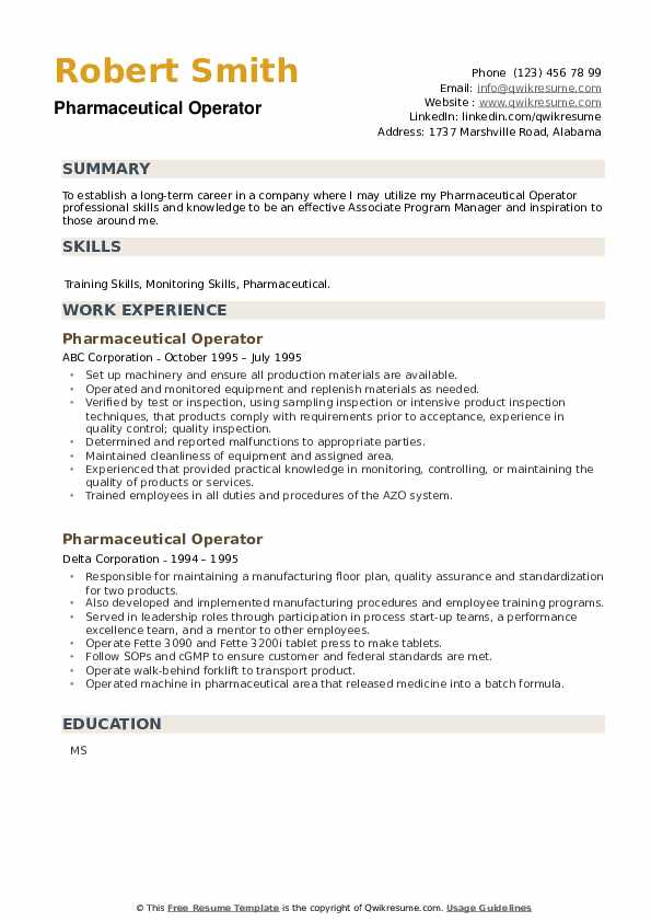 Pharmaceutical Operator Resume example