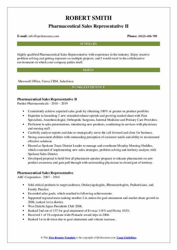 Pharmaceutical Sales Representative II Resume Example