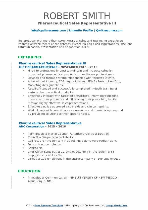 Pharmaceutical Sales Representative III Resume Example