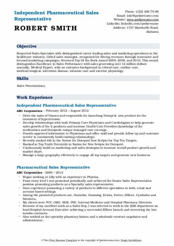 Independent Pharmaceutical Sales Representative Resume Format
