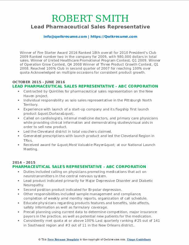 Lead Pharmaceutical Sales Representative Resume Format