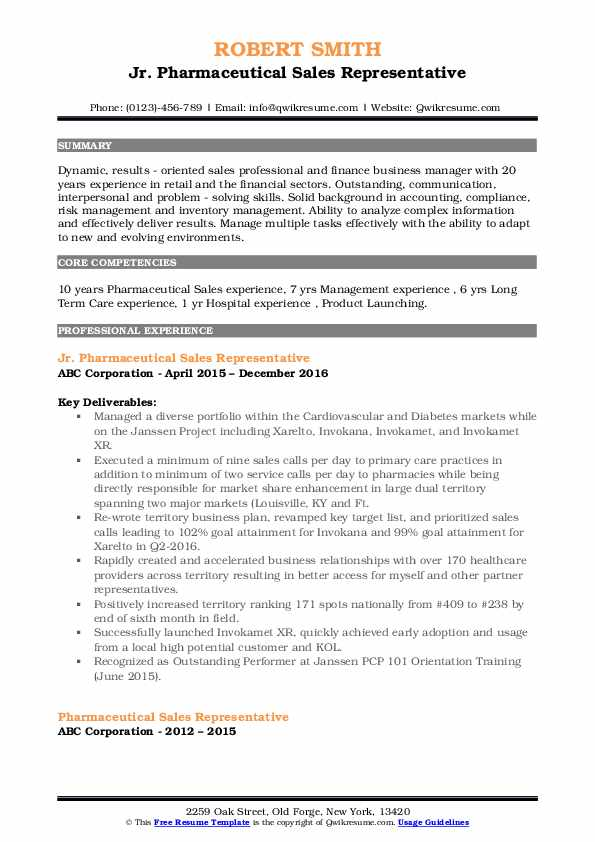 Jr. Pharmaceutical Sales Representative Resume Template