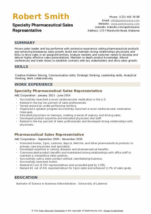 Specialty Pharmaceutical Sales Representative Resume Format