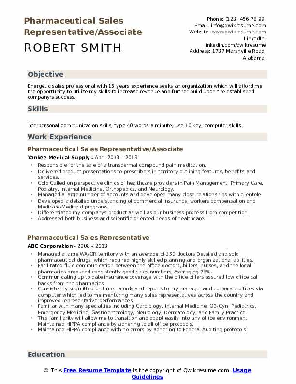 Pharmaceutical Sales Representative/Associate Resume Model
