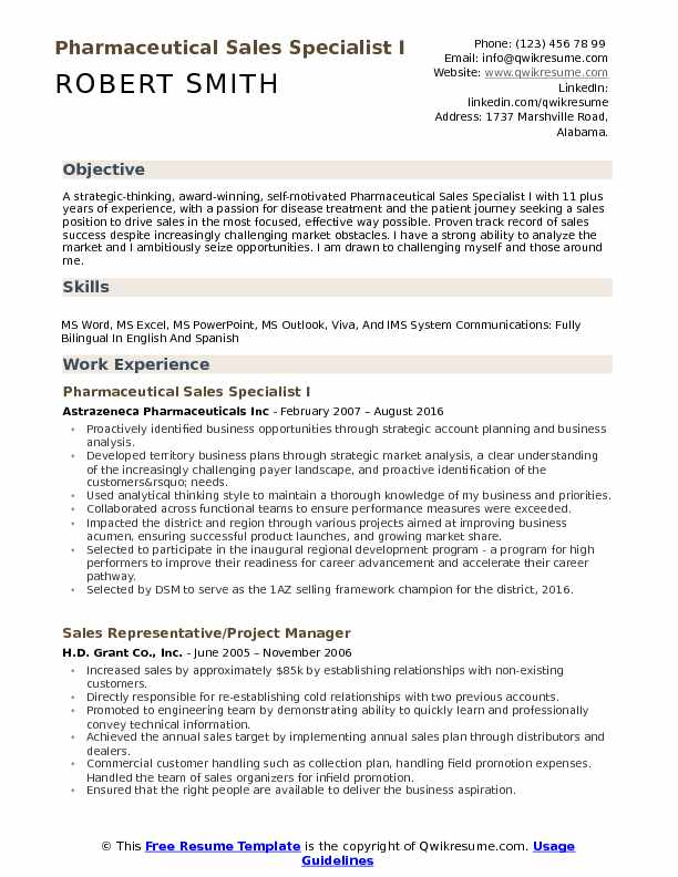 Pharmaceutical Sales Specialist I Resume Format