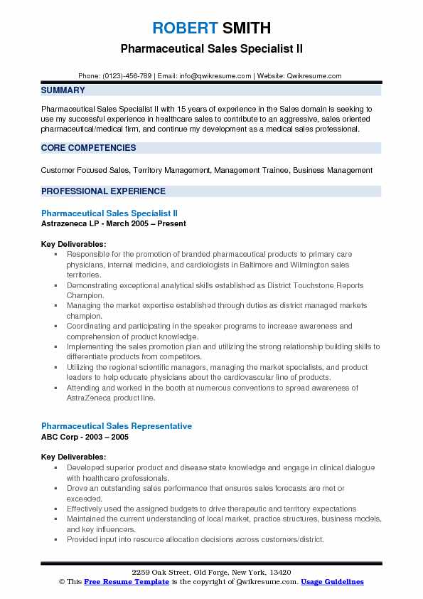 Pharmaceutical Sales Specialist II Resume Format