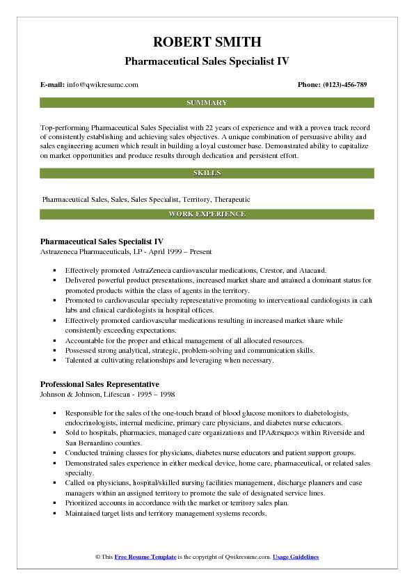 Pharmaceutical Sales Specialist IV Resume Model
