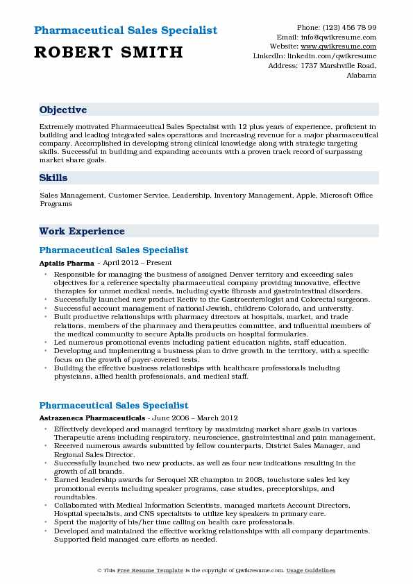 Pharmaceutical Sales Specialist Resume Template