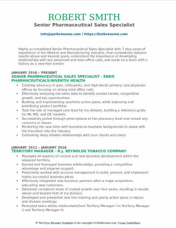 Senior Pharmaceutical Sales Specialist Resume Format