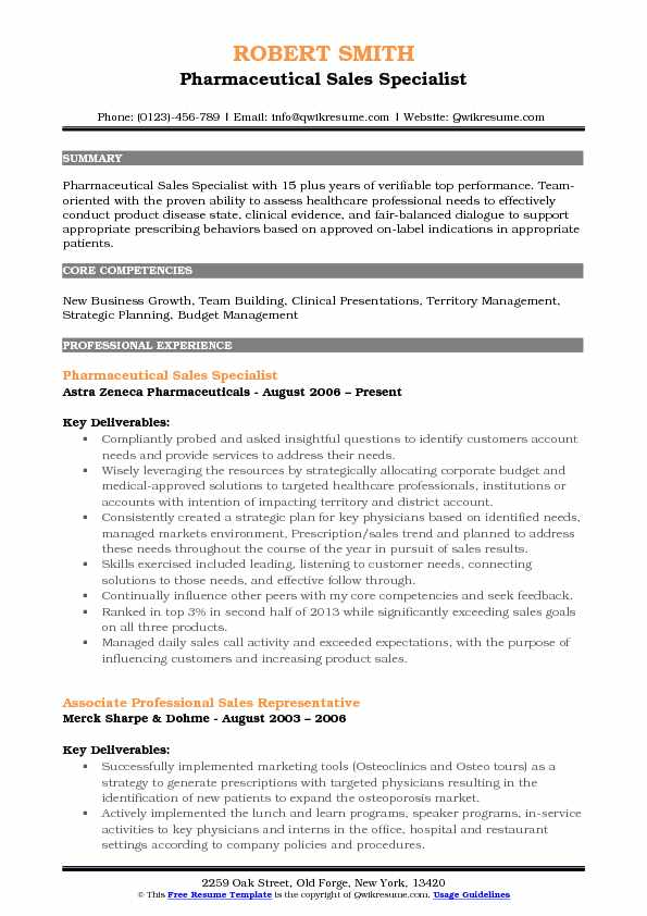 Pharmaceutical Sales Specialist Resume Model