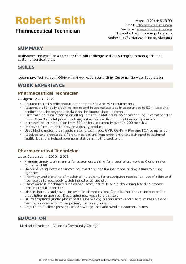 Pharmaceutical Technician Resume example