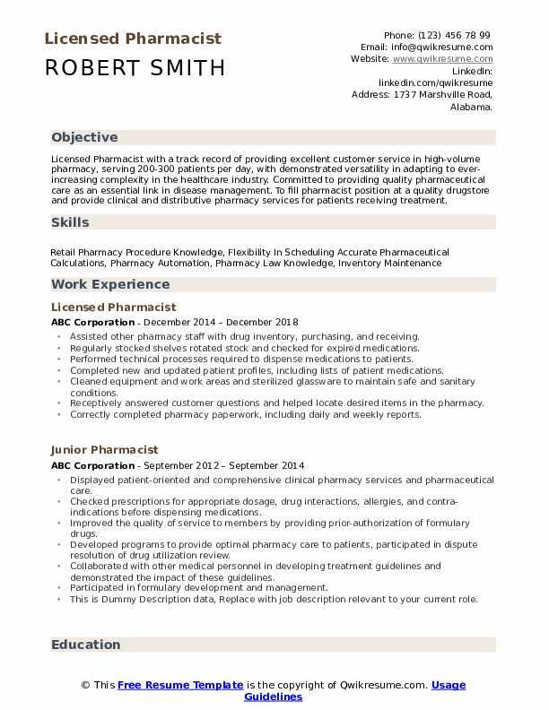 Licensed Pharmacist Resume Sample