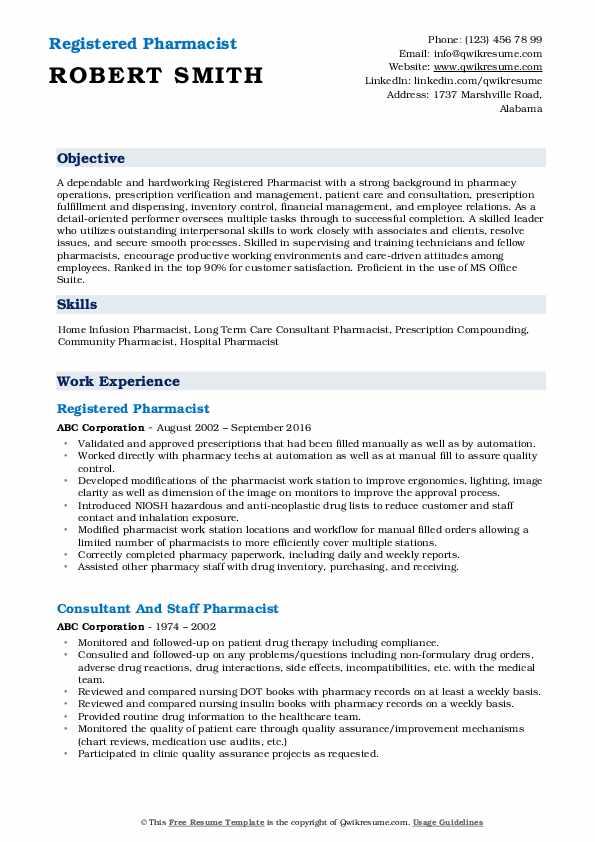 Registered Pharmacist Resume Template