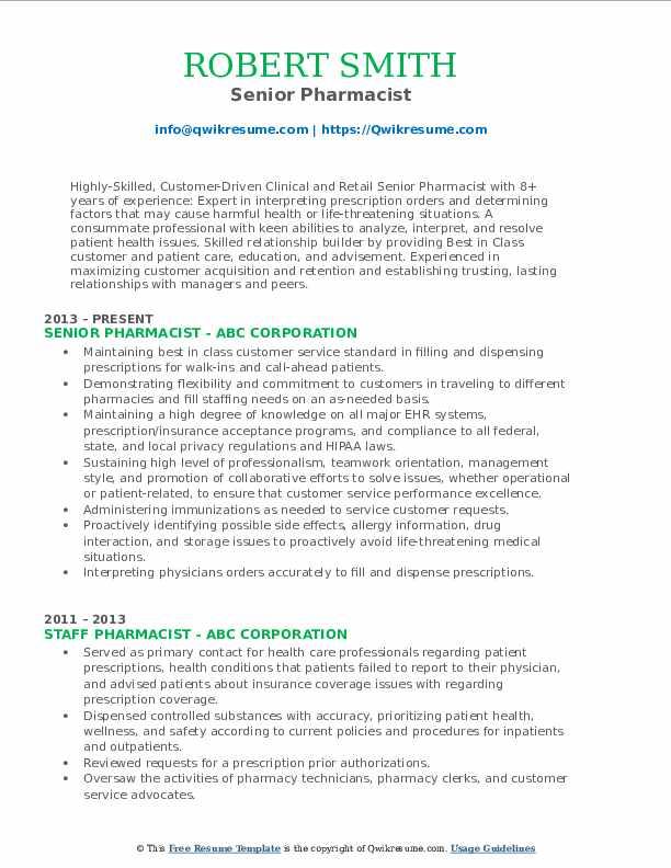 Senior Pharmacist Resume Format