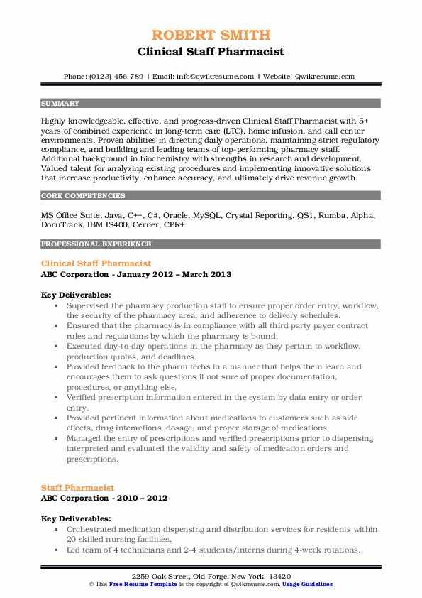 Clinical Staff Pharmacist Resume Model