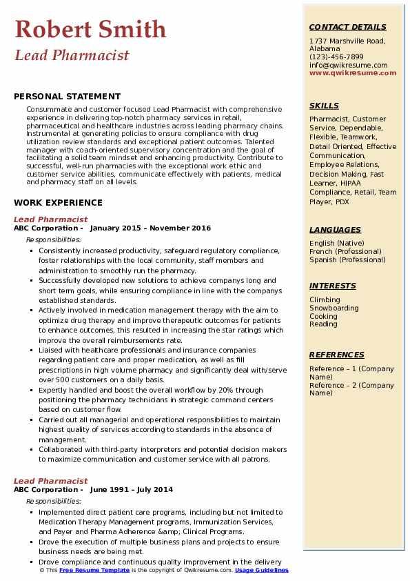 Lead Pharmacist Resume Format