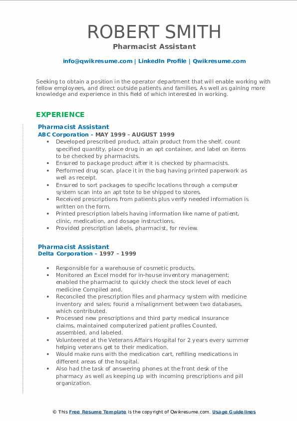 pharmacist assistant resume samples  qwikresume