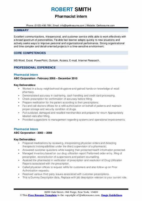 Pharmacist Intern Resume example