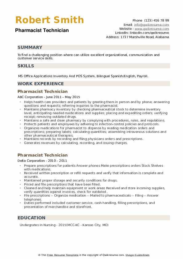 Pharmacist Technician Resume example