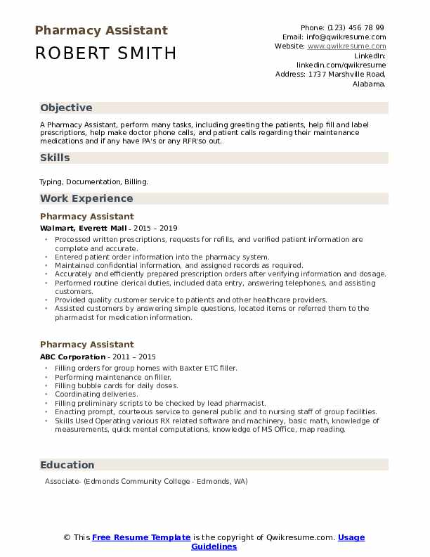 Pharmacy Assistant Resume Model