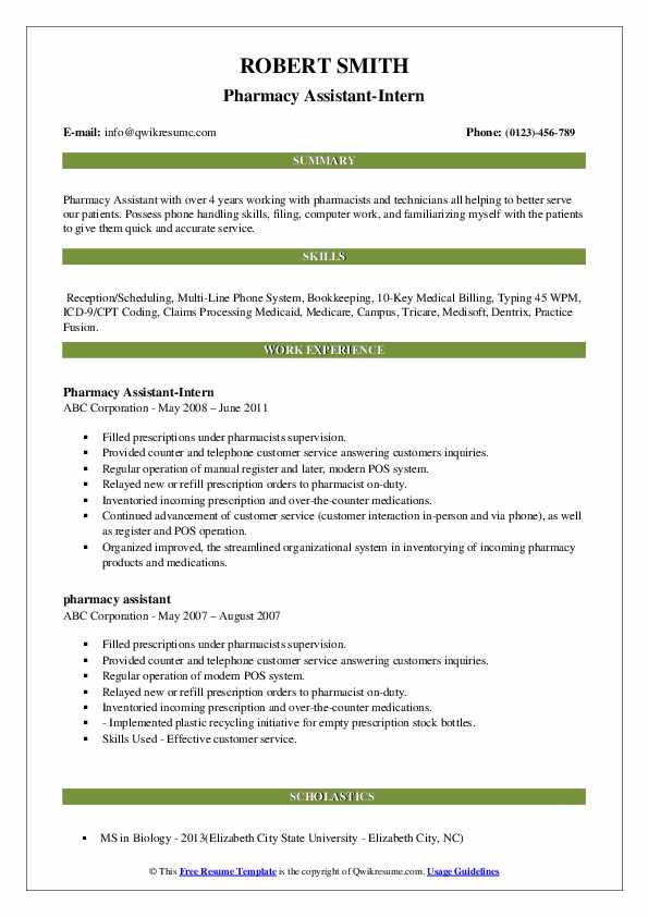 Pharmacy Assistant-Intern Resume Template