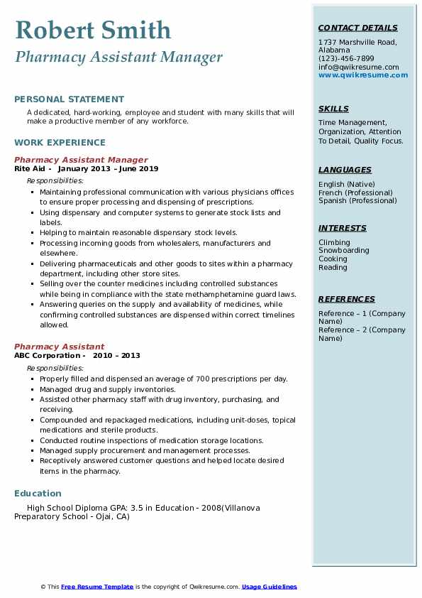 Pharmacy Assistant Manager Resume Format