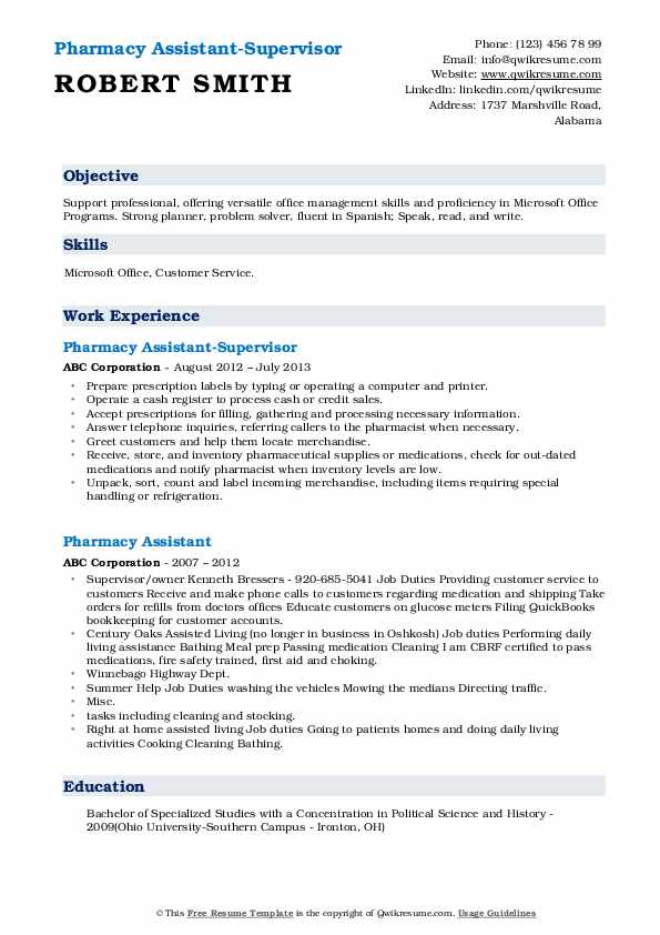Pharmacy Assistant-Supervisor Resume Template