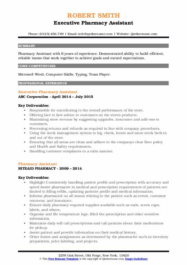 Executive Pharmacy Assistant Resume Model