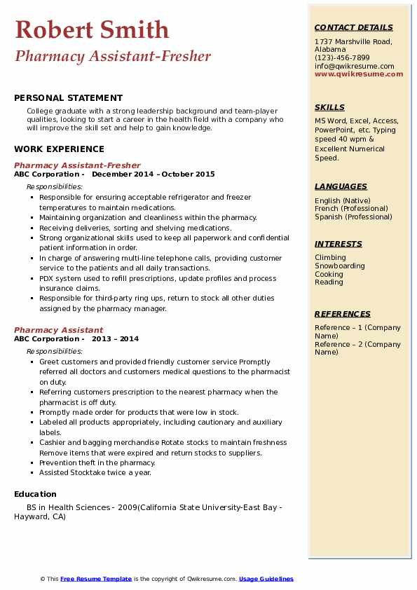 Pharmacy Assistant-Fresher Resume Example