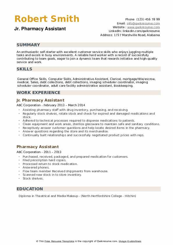 Jr. Pharmacy Assistant Resume Example
