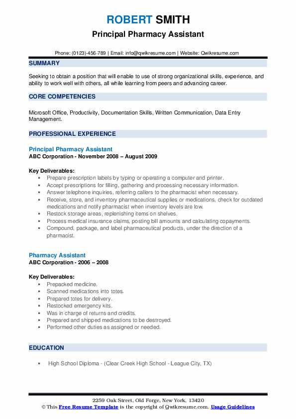 Principal Pharmacy Assistant Resume Model