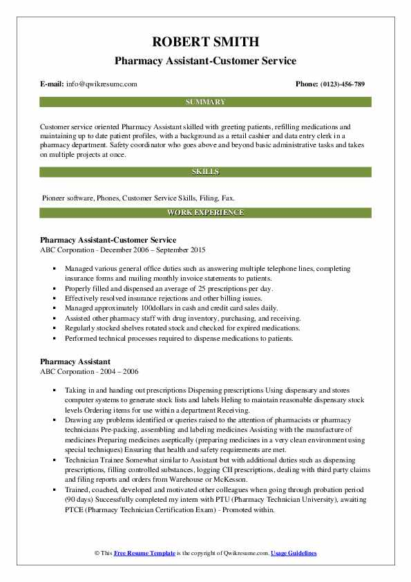 Pharmacy Assistant-Customer Service Resume Format