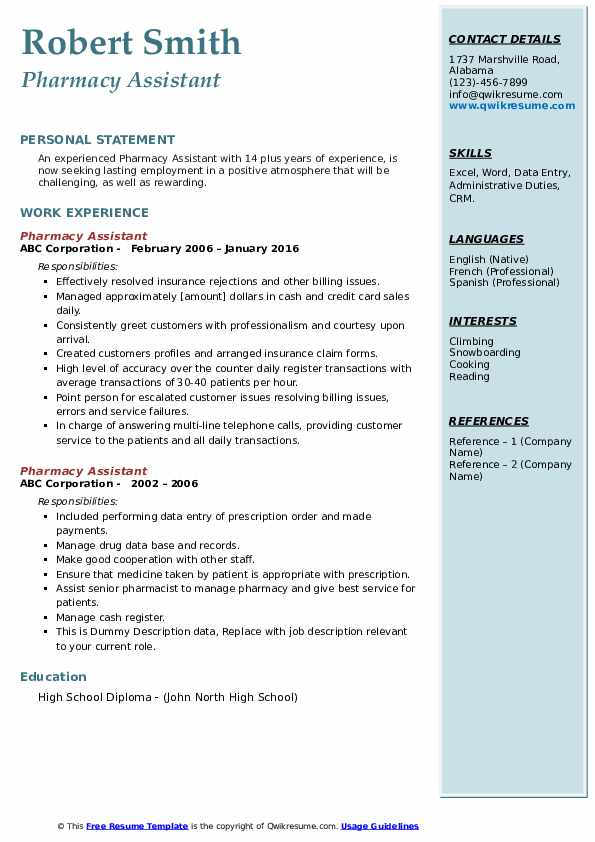 Pharmacy Assistant Resume example
