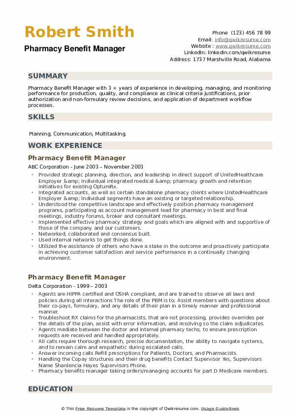 Pharmacy Benefit Manager Resume example
