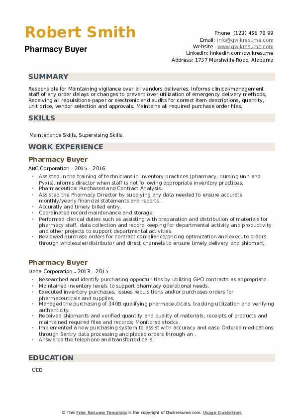 Pharmacy Buyer Resume example