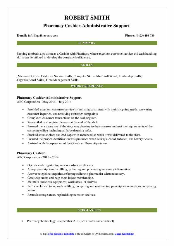 Pharmacy Cashier-Administrative Support  Resume Model